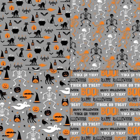 Halloween mönster på grå bakgrund vektor