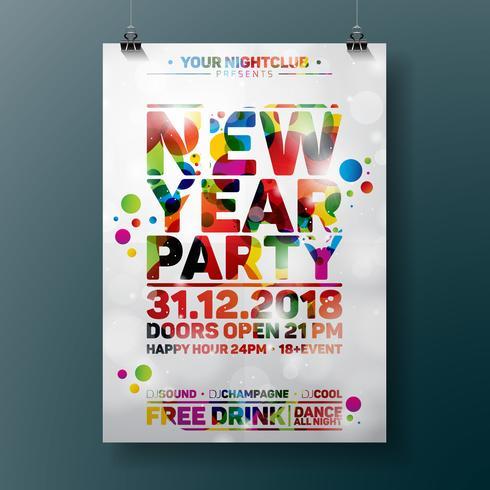 Nyårsfesten Celebration Poster Illustration med typografi design på glänsande färgstark bakgrund. Vektor EPS 10.