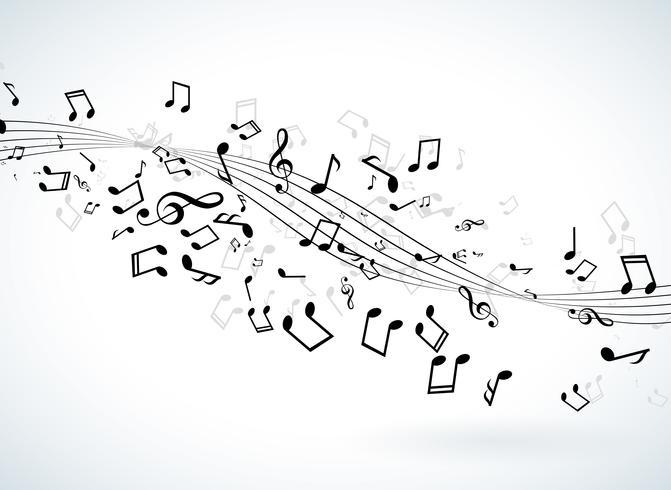 Musik illustration med fallande anteckningar på vit bakgrund. Vektor design för banner, affisch, hälsningskort.
