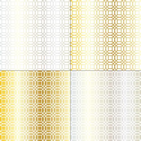 geometrisches Gittermuster aus Silber und Gold-Mod-Kreis vektor