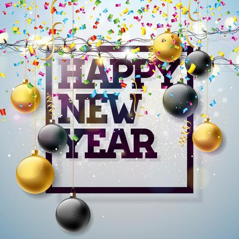 2018 guten Rutsch ins Neue Jahr-Illustration mit Typografie-Design und leichter Girlande, Glaskugel auf glänzendem Konfetti-Hintergrund. Vector Holiday Design für erstklassige Grußkarte, Party-Einladung oder Promo-Banner.
