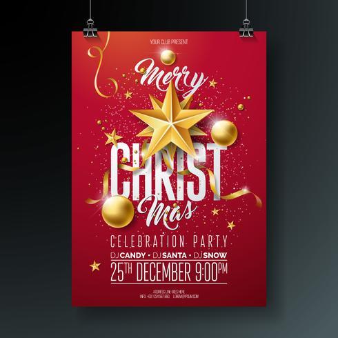 Vektor-frohe Weihnachtsfest-Flieger-Illustration mit Feiertags-Typografie-Elementen und Gold Ornamental Ball, vektor