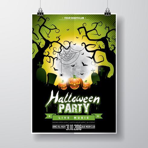 Vektor Halloween Party Flyer Design med typografiska element och pumpa