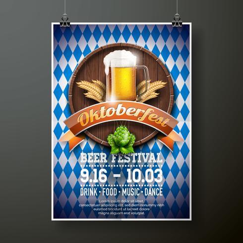 Oktoberfest affisch vektor illustration med färska lager öl på blå vit flagg bakgrund. Firande flyersmall för traditionell tysk ölfestival.