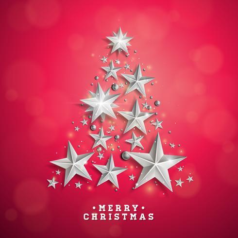 Vektor jul och nyår illustration med julgran gjord av cutout papper stjärnor på röd bakgrund. Semesterdesign för gratulationskort, affisch, banner.