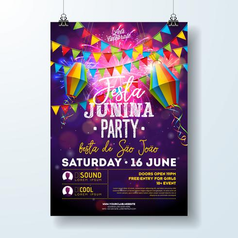 Festa Junina Party Flyer Illustration mit Flaggen und Papierlaterne auf Feuerwerkshintergrund. Vector Brazil June Festival Design für Einladungs- oder Feiertagsfeier-Plakat.
