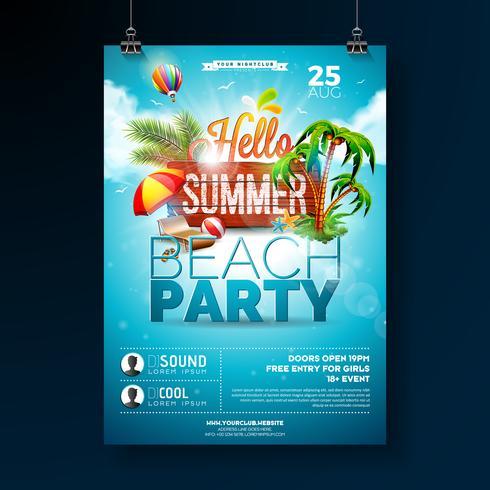 Vector Summer Beach Party Flyer Design med typografiska element på trästruktur bakgrund. Sommar natur blommiga element, tropiska växter, blomma, strandboll och solskydd med blå molnig himmel