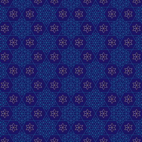 utsmyckat blått och guld jewish stjärnmönster vektor