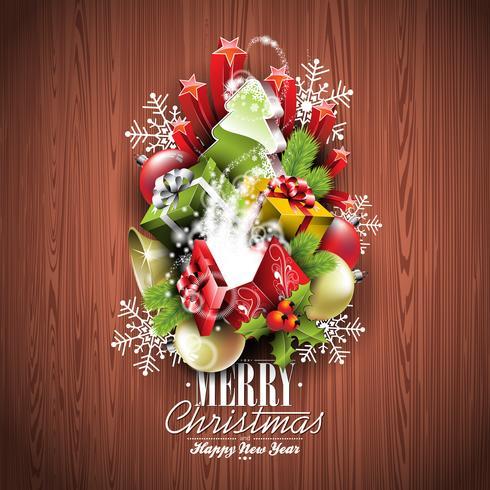 God jul och gott nytt år typografisk design med semesterelement vektor