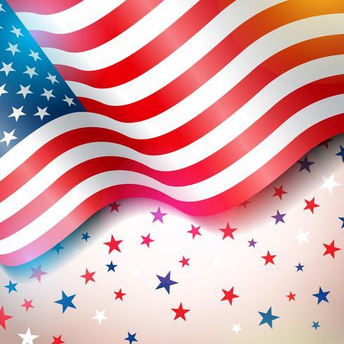 Unabhängigkeitstag der USA-Vektor-Illustration. Viertel des Juli-Entwurfs mit Flagge und Sternen auf hellem Hintergrund für Fahne, Grußkarte, Einladung oder Feiertags-Plakat. vektor