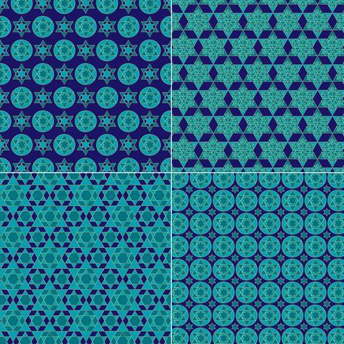 utsmyckade blå och guld judiska stjärnmönster vektor