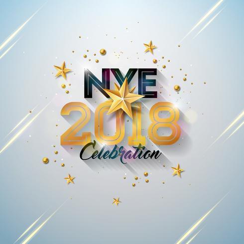 Guten Rutsch ins Neue Jahr-Illustration mit Typografie-Buchstaben, Goldausschnitt-Papierstern und dekorativem Ball auf weißem Hintergrund. Vector Holiday Design für erstklassige Grußkarte, Party-Einladung oder Promo-Banner.
