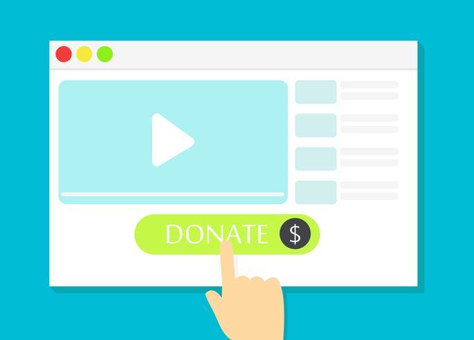 Das Browserfenster mit der Schaltfläche Spenden vektor