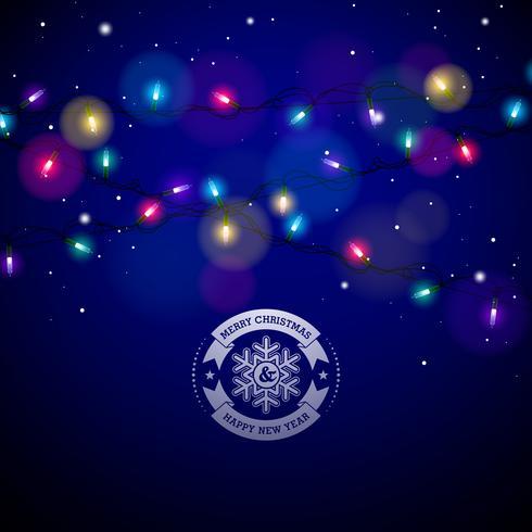 Glühende bunte Weihnachtslichter für Weihnachtsfeiertag und guten Rutsch ins Neue Jahr-Gruß-Karten entwerfen auf glänzendem blauem Hintergrund. vektor