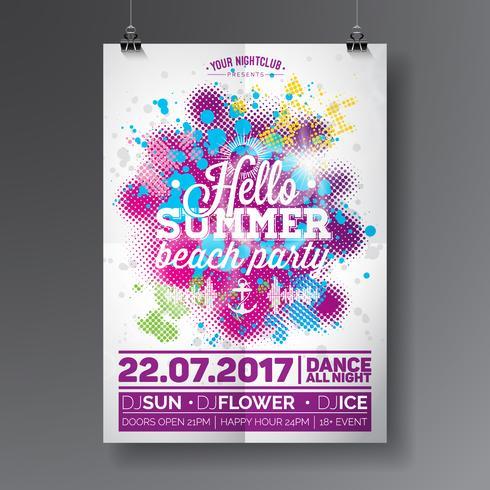 Vektor-Sommer-Strandfest-Flieger-Design mit typografischen Elementen vektor