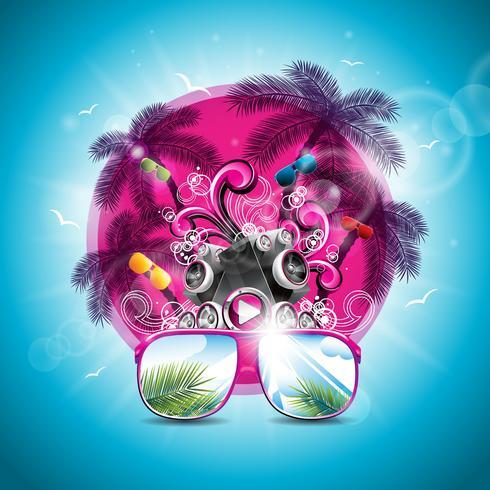 Vector Sommerferienillustration auf einem Musik- und Partythema mit Lautsprechern und Sonnenbrillen