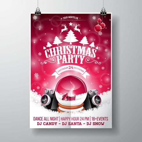Vektor-fröhliches Weihnachtsfestdesign mit Feiertagstypographieelementen und -sprechern auf glänzendem Hintergrund. vektor