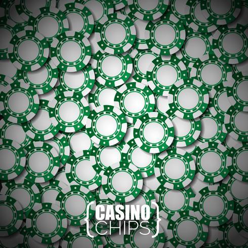 Vector Illustration auf einem Kasinothema mit den grünen spielenden Chips