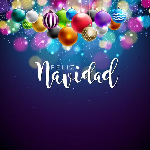 Julillustration med spanska Feliz Navidad typografi och färgstark prydnadsboll på glänsande blå bakgrund. Vector Holiday Design för Premium Greeting Card, Party Invitation eller Promo Banner.