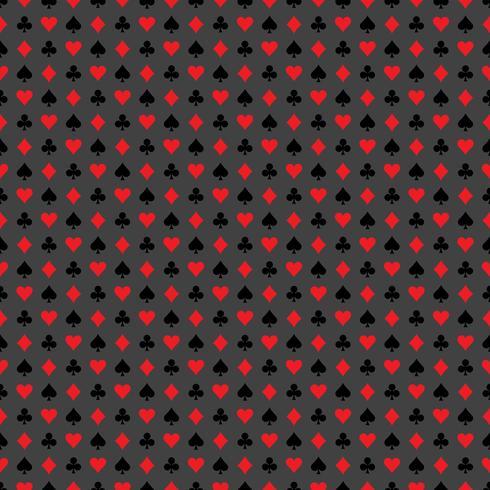 Vektor sömlösa casino mönster illustration med spelkort symboler på grå bakgrund.