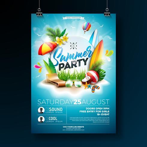 Vector Summer Beach Party Flyer Design med typografiska element på blå molnig himmel bakgrund. Sommar natur blommiga element, tropiska växter, blomma, strandboll, surfbräda och parasoll