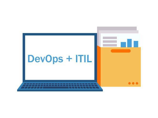 DevOps plus ITIL-bärbar dator med dokument och diagram vektor
