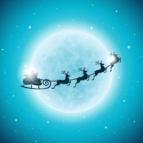 Vektor God jul helgdag och gott nytt år illustration med typografisk design och snöflingor på vintern landskap bakgrund.