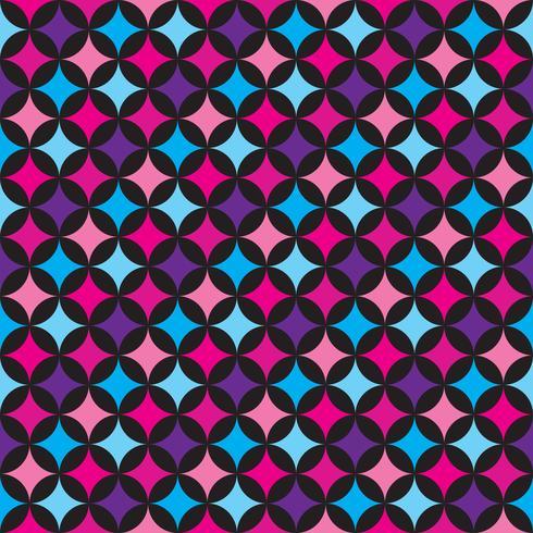 Vektor sömlösa mönster illustration med blå och rosa element på svart bakgrund.