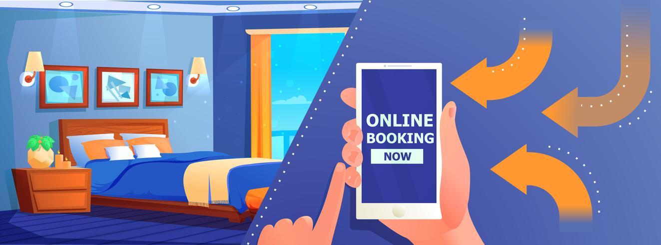 Hotel online boknings banner vektor