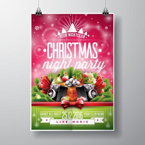 Vektor Glad julparti design med semester typografi element och högtalare på blank bakgrund.