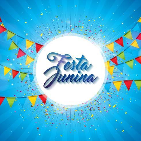 Illustration Festa Junina mit Parteiflaggen und Papierlaterne auf gelbem Hintergrund. Vector Brazil June Festival Design für Grußkarte, Einladung oder Feiertagsplakat.