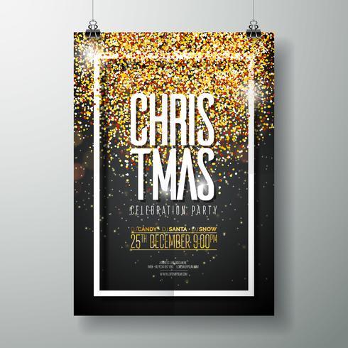 Vektor-frohe Weihnachtsfest-Plakat-Design-Schablone mit Feiertags-Typografie-Elementen und glänzendem Licht auf dunklem Hintergrund. vektor