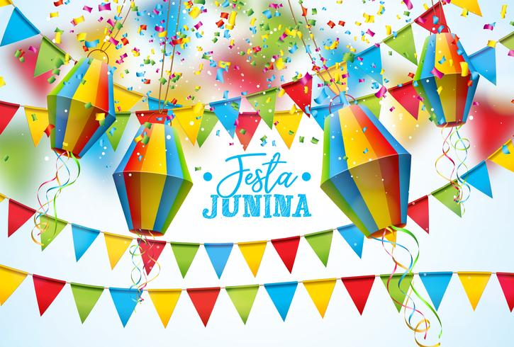 Illustration Festa Junina mit Parteiflaggen und Papierlaterne auf weißem Hintergrund. Vector Brazil June Festival Design für Grußkarte, Einladung oder Feiertagsplakat.