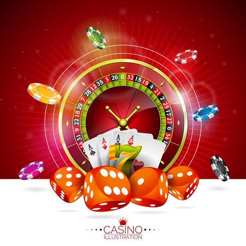 Vektor illustration på ett kasinotema med färgspel chips och pokerkort på mörk bakgrund.