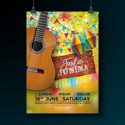 Partei-Flieger-Illustration Festa Junina mit Typografie-Design auf hölzernem Brett der Weinlese und Akustikgitarre. Flaggen und Papierlaterne auf gelbem Hintergrund. Vektor Brasilien Juni Festival Design