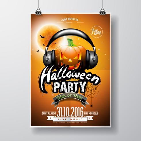 Vektor-Halloween-Partei-Flieger-Design mit Kürbis und Kopfhörer auf orange Hintergrund vektor
