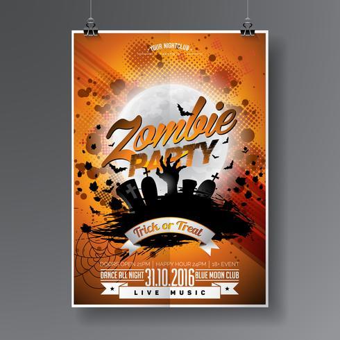Vektor Halloween Zombie Party Flyer Design med typografiska element på orange bakgrund.