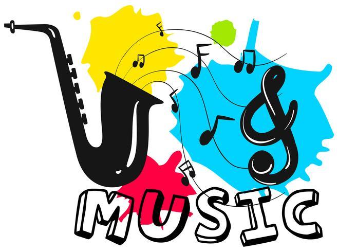 Saxofon med ordmusik i bakgrunden vektor