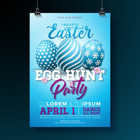 Vektor-Osterfest-Flieger-Illustration mit gemalten Eiern und Typografieelementen vektor