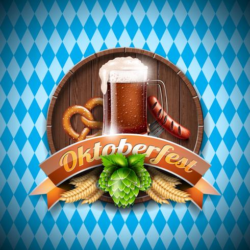 Oktoberfest-Vektorillustration mit frischem dunklem Bier auf blauem weißem Hintergrund vektor