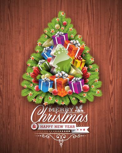 God jul och gott nytt år typografisk design med semesterelement på trästruktur bakgrund. vektor
