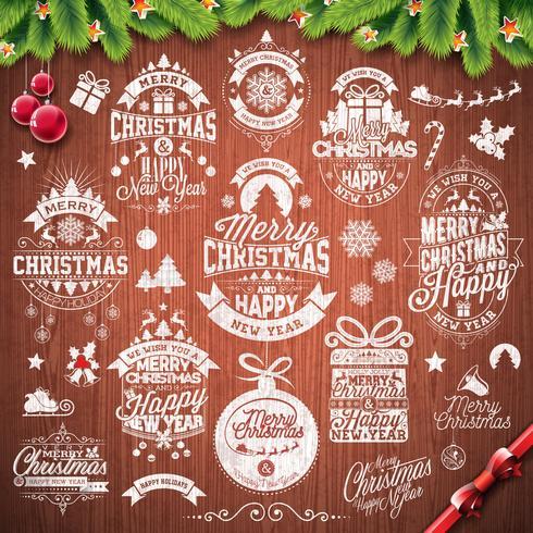 Vektor God jul helgdag och gott nytt år illustration med typografisk design som sätts på vintage trä konsistens bakgrund