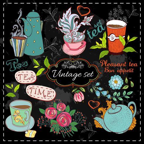 Sats med tesamling vektor