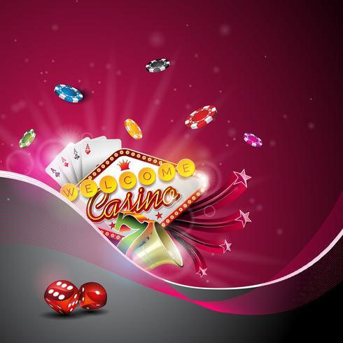 Vector Illustration auf einem Kasinothema mit der Farbe, die Chips und Pokerkarten spielt