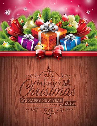 Graverad God jul och gott nytt år typografisk design vektor