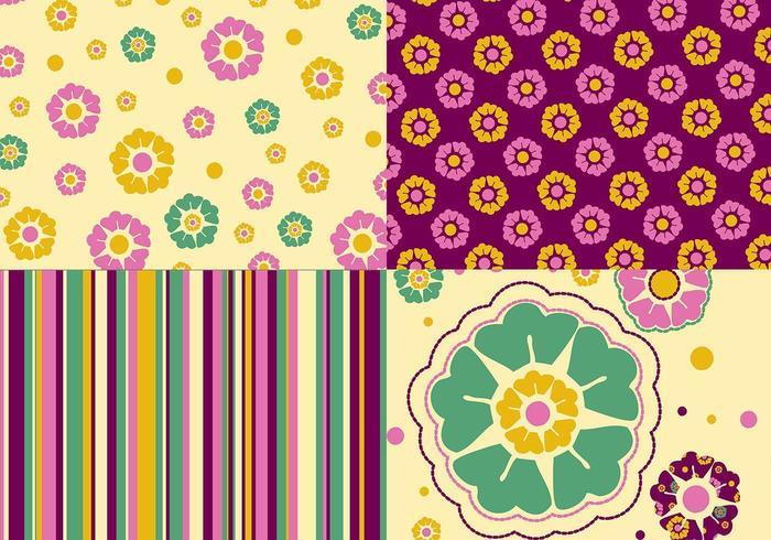 Floral Wallpaper och Pattern Vector Pack