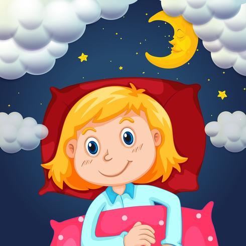 Liten tjej som sover på natten vektor
