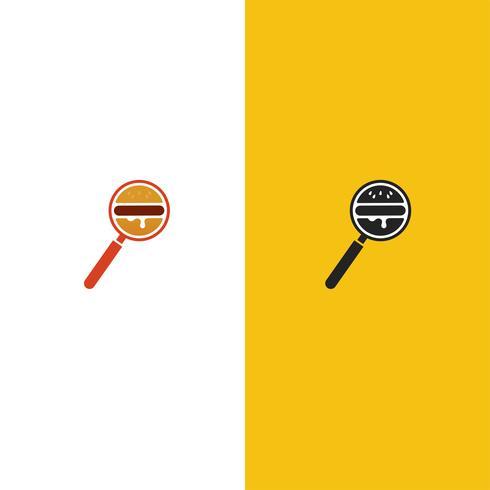 Burger Sök leveransservice logotyp. Förstoringsglas med en hamburgareikon. Vektor illustration