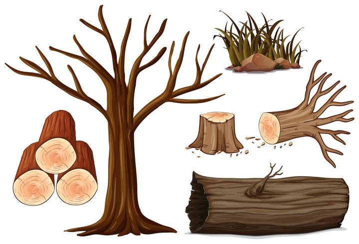 En uppsättning av trä vektor