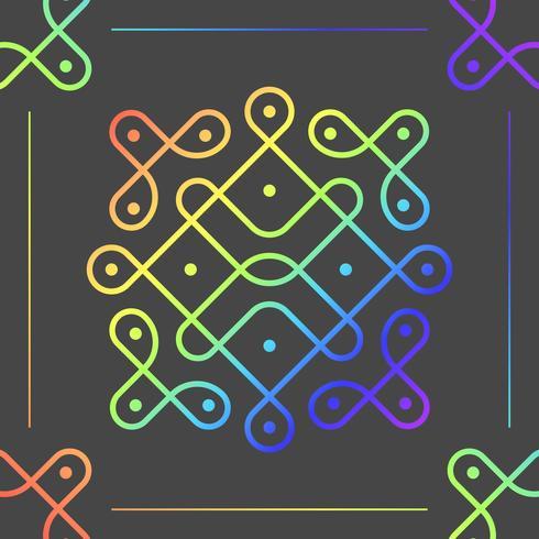 Flache bunte Kolam-Muster-Vektor-Illustration vektor